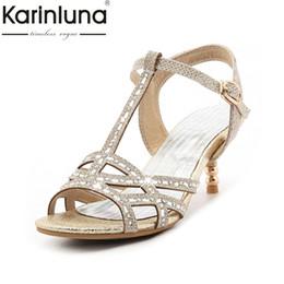 Discount bling wedding sandals - KARINLUNA 2017 Big Size 32-45 t-strap Bling Upper Fashion Women Latin Shoes Elegant Med Heels Wedding Sandals Lady Gold