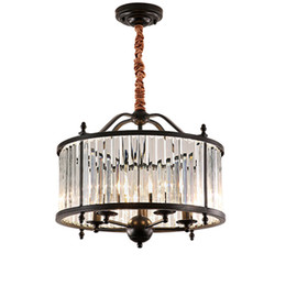 Cottage Kitchen Black Iron Lighting Australia - American crystal chandeliers living room restaurant crystal pendant lamps new classic led pendant lights bedroom black chandeliers