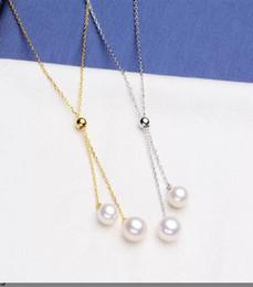 Bir pc katı gümüş kolye ayarı, montaj çift inci kolye, inci kolye olmadan boş, mücevher DIY, hediye DIY