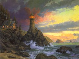lighthouse prints NZ - Thomas Kinkade Landscape Painting Reproduction Giclee HD Print on Canvas Lighthouse seascape sunrise Modern Wall Art Home Decoration HT262