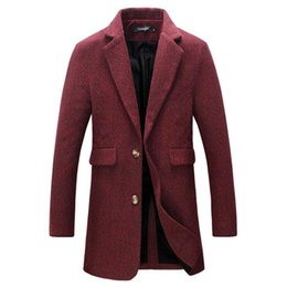 Wholesale mens winter trench pea coat resale online - New Autumn Winter Fashion Brand Jacket Mens Wool Coat Single Breasted Pea Coats Mens Clothing Trend Mid Long Trench Coat Men XL