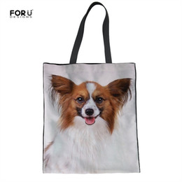 425651115a1c Dog Print Tote Bag Canada - FORUDESIGNS Shopping Bags Tote Cute Papillon  Dog Printed Fashion Girls