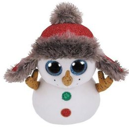 "China Ty Beanie Boos 6"" 15cm Buttons the Snowman Plush Regular Soft Big-eyed Stuffed Animal Collection Doll Toy supplier toys 15cm suppliers"