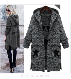 Love stitch cLothing online shopping - Hoodied Autumn Winter I LOVE PEACE STAR Women s Thick Cardigans Cardigan Sweaters Female Loose Knit Long Clothing Women Sexy Sweater Coats