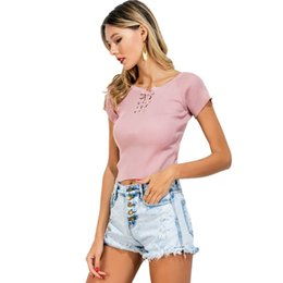 Cropped Tees Australia - Summer Female T-shirt Lace-Up Short Sleeve Crop Top O-Neck Solid Slim Ribbed Knitted T-shirts for Women Short Tees Coffee Pink