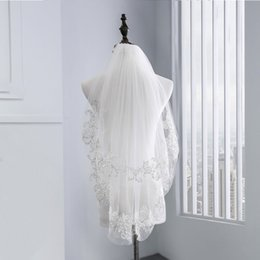 $enCountryForm.capitalKeyWord NZ - 2018 short bridal veils Two Layers White Ivory Tulle Lace with Comb Appliques Pearl 1.5 M Wedding Accessories New Wedding Veil CPA1065