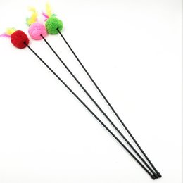 Discount long lining supplies - Wholesale cat supplies elastic plastic long rod with line ball color feather tease cat and cat toy 55cm
