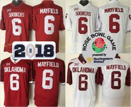 8b5d5f460 Mens 2018 NCAA Heisman Rose Bowl Patch Jersey Oklahoma Sooners  6 Baker  Mayfield Red White Limited Stitched College Football Jerseys