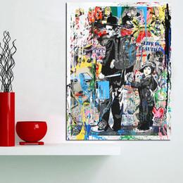 Modern pop art paintings online shopping - Hand painted HD Print Modern Abstract Graffiti Pop Art Oil painting Charlie Chaplin On Canvas Home Deco Wall Art g295
