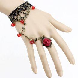 $enCountryForm.capitalKeyWord UK - Women Retro Flower vine Gothic Jewelry Black Cameo Lace Flower Bracelet Chain Lolita Gift for Back of the hand