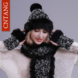 Rabbit Fur Scarves Caps Australia - CNTANG Winter Women Hat And Scarf With Gloves 3Pieces Set Female Warm Knitted Rabbit Fur Pompom Hats Scarves Fashion Luxury Caps