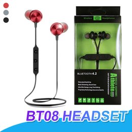 Red bass online shopping - BT08 Bluetooth Headphones Magnetic Wireless Earphones Headset With Mic BT4 Bass Stereo Earbuds For iPhone Samsung With Package