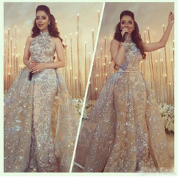 yousef aljasmi short Canada - Yousef Aljasmi 2017 Modest High Neck Mermaid Prom Dresses with Overskirt Sparkly Dubai Arabic Occasion Evening Wear Gowns