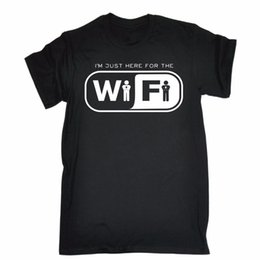 Just Here For The Wifi T Shirt Internet Nerd Geek Tee Top Funny Birthday Gift New 2018 Cotton Short Sleeve