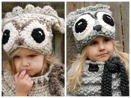 owl beanie kids NZ - Winter Kids Warm Owl Animal Hat Knitted Hood Scarf Beanies for Autumn Winter Lovely Infant Toddler Girl Boy Beanie Warm Cap Free Shipping
