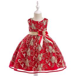$enCountryForm.capitalKeyWord UK - Baby Girl Princess Dress Gold Thread Embroidered Tutu Formal Wedding Dress kids designer clothes girls Flower Girls Knit Belt Bowtie Dress