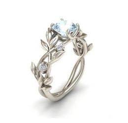 Black vine design online shopping - Fashion Silver Color Crystal Flower Vine Leaf Design Rings For Women Femme Ring Vintage Statement Jewelry Lover Gift
