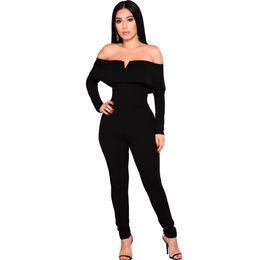64784216b44b Sexy Women Off the Shoulder Jumpsuit Ruffle Long Sleeves Zip Slim Romper  Body Suits Black Long Sleeve Skinny Overalls Female