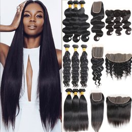 Deep curly extensions online shopping - Unprocessed Brazilian Virgin Straight Human Hair Bundles with Closure Kinky Curly Deep Body Wave Frontal and Bundles Remy Hair Extensions