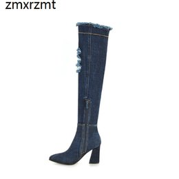 Discount boots beautiful - 2019 women beautiful led of over the knee high women boots 8.5cm high heel shoes spring autumn party shoes big size 34-4