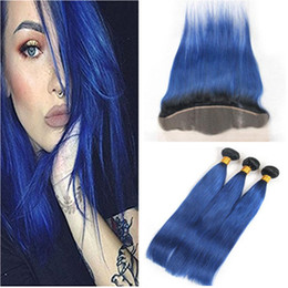 ombre hair frontal Canada - Straight #1B Blue Ombre Virgin Brazilian Human Hair Weaves with Full Lace Frontal Closure 13x4 Dark Root Ombre Blue Human Hair Weave Bundles