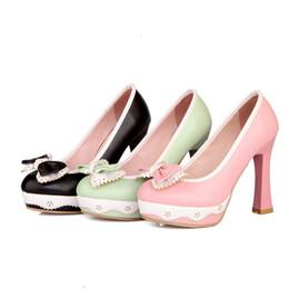 f3181dfb8bc PINK GREEN BLACK Sweet Lolita Bow   Lace High Heels Platform Pumps Princess  Party Shoes