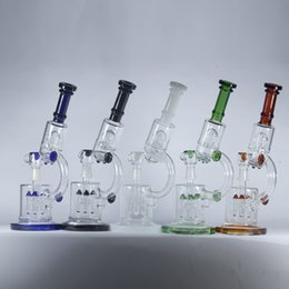 Wholesale Microscope Glass Bongs Water Pipes quot inches Rocket Perc to UFO Perc Double Recycler Oil Rigs Thick Glass Hookahs Shisha Colors