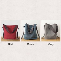 plain drawstring bags NZ - High Quality 26*11*36CM Cotton Linen Red Blue Grey Casual Plain Drawstring Shoulder Bag For Women Female Lady