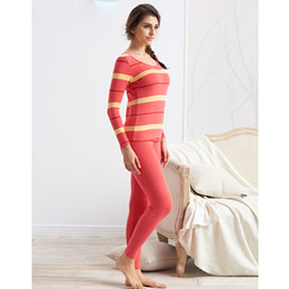 thermal suits Australia - Thermal Underwear Womens Winter Underwear Thick Cotton Striped Female A Set Of Long Johns Breathable Soft Knitted Suit