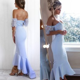 asymmetrical bridesmaid prom dresses Canada - Light Blue High Low Mermaid Bridesmaid Dresses Elegant Off Shoulder Appliques Backless Long Wedding Guest Dress Cocktail Prom Gowns BM0934