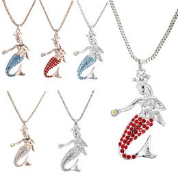Discount alloy mermaids - New Mermaid Necklace Crystal Mermaid Pendant with Silver Gold Long Chain Women Girls Fashion Jewelry Drop Shipping