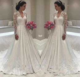 Wholesale white bridal lace fabric for sale - Group buy Ivory Illusion Long Sleeve Wedding Dresses A Line Satin Fabric Lace Appliques V Neck Stunning Ruched Floor Length Modest Bridal Gowns Custom