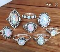 opal set jewellery Australia - European and American antique jewellery hot sale simple diamond set eight set of gem Rings Wholesale
