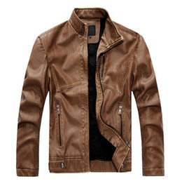 mens vintage leather motorcycle jackets Canada - Stand Collar Fashion Vintage Style PU Leather Jacket Men Motorcycle Velet Lining Slim Fit Mens Winter Jackets And Coats