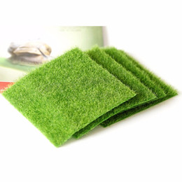 Wholesale Artificial Grass Fake Lawn cm cm Fairy Garden Miniature Gnome Moss Terrarium Decor Miniature Ornament Garden Dollhouse
