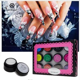 acrylic painting patterns NZ - 3D Painting Gel Fingernails Nail Art Paint Drawn Acrylic DIY Creative Stylish Pattern Manicure Set 12 Colors