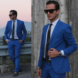 Best Suits Canada - DHL Free Handsome Summer Custom Made Men Suits Blue Slim Fit Casual Wedding Suits Business Tuxedo Groomsmen Wear Prom Best Man Jacket+Pants
