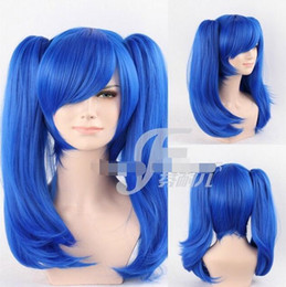 Wholesale Blue Medium Straight Double Ponytail Cospaly Full Hair Wig Costume Party Wigs