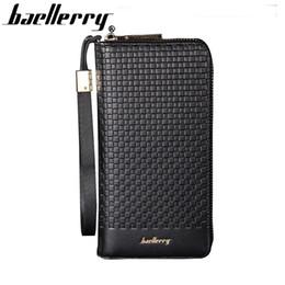 Brown Plaid Wallet NZ - Top grade brand wallet men fashion men's purse men wallets long patent leather wallet plaid male Baellerry new product !