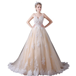 Chinese  Sweetheart Champagne Wedding Dresses Tulle Beaded Lace Wedding Gown Spaghetti Straps boho wedding dress 2018 vestido manufacturers
