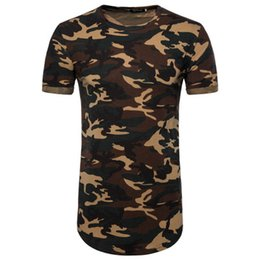 China Summer Kanye Extend T shirt High Street Fashion Men Longlines Crew Neck T shirt Camouflage Printed Top Clothing Men Shirts cheap army camouflage clothing suppliers