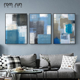 Modern abstract wall art black white online shopping - Abstract Geometry Canvas Painting Black White Blue Posters And Prints Wall Art Picture For Living Room Modern Nordic Home Decor