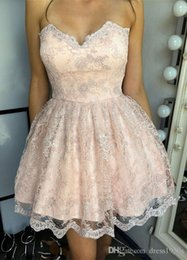 $enCountryForm.capitalKeyWord Australia - 2018 Short Mini Sexy Blush Pink Homecoming Dresses Sweetheart Corset Back Full Lace Appliques Party Graduation Plus Size Cocktail Gowns