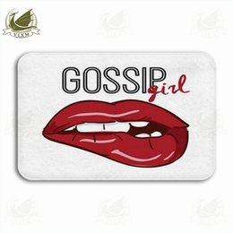colored lipsticks UK - Vixm Romantic Background With Lipstick Kiss And Red Valentine Welcome Door Mat Rugs Flannel Anti-slip Entrance Indoor Kitchen Bath Carpet
