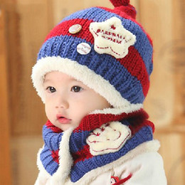 $enCountryForm.capitalKeyWord NZ - Beanies Baby Hat Pompon Winter Children Hat Knitted Cute Cap For Girls Boys Casual Solid Color Girls Baby Beanies 2 Pieces