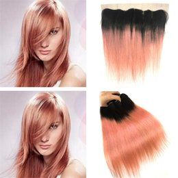 Discount peruvian gold hair - Rose Gold Pink Ombre Lace Frontal Closure with Bundles Two Tone 1B Rose Gold Ombre Straight Human Hair Weaves with 13X4