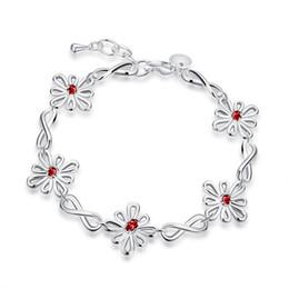$enCountryForm.capitalKeyWord Australia - Beautiful design Silver Crystal Flower Charm Bracelet Fashion jewelry wedding gift for woman Top quality H480