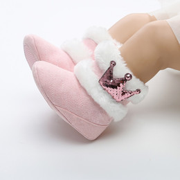 Crown For Infant NZ - Newborn Baby Shoes Winter Warm Baby Boots Crown Fur Slip-On Furry Infant Baby Shoes For Girls 0-18M