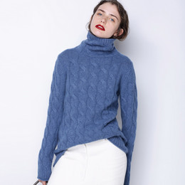 Knitted Cables Canada - Women's Fall Winter Long Thick Denim Blue Grey Cashmere Sweater Women Ugly Christmas Turtleneck Sweater Female Cable Knit Jumper