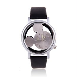 $enCountryForm.capitalKeyWord Canada - Hollow Cartoon Dial Couple Quartz Wristwatches Mouse Pattern Leather Strap Watches Lovely Men Women Lovers Clocks Relogio Saat